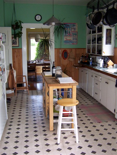 the kitchen facing east