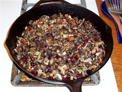 wild rice with mushroom, cranberries and pecans