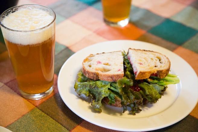 roast pork and cranberry sandwich